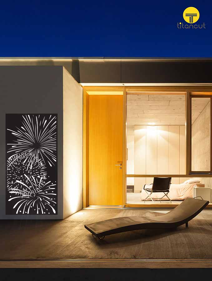 laser cut panel fireworks wall decor