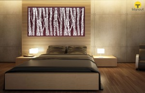 Brown and White Snakewood Pattern Panel on a Wall Above Bed in Grey/Light Brown Bedroom