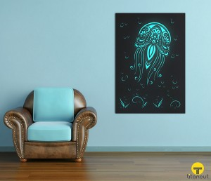Metal Laser Cut Wall Panel Screen Jellyfish
