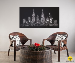 Black Metal Laser Cut Wall Panel With New York Pattern in a Resting Area