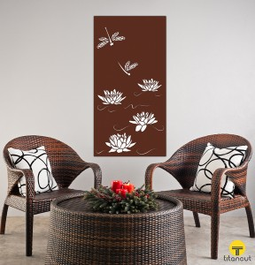 Metal Laser Cut Wall Panel Screen Dragonfly and Lotus