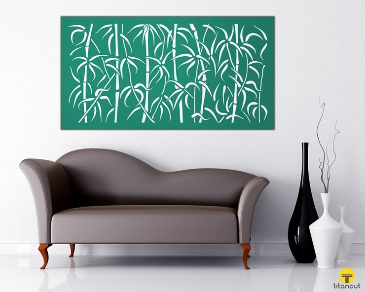 Metal Laser Cut Wall Panel Screen Bamboo Pattern
