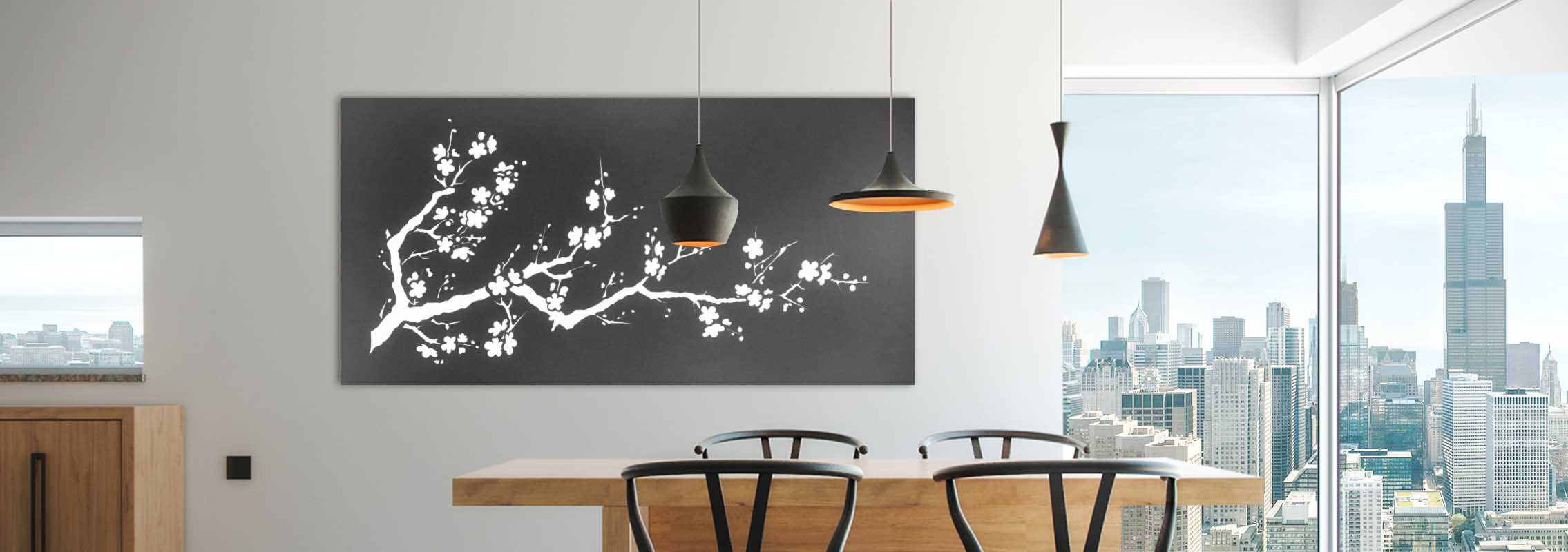 Laser Cut Branch Pattern In A Dinnig Area With Wooden Elements