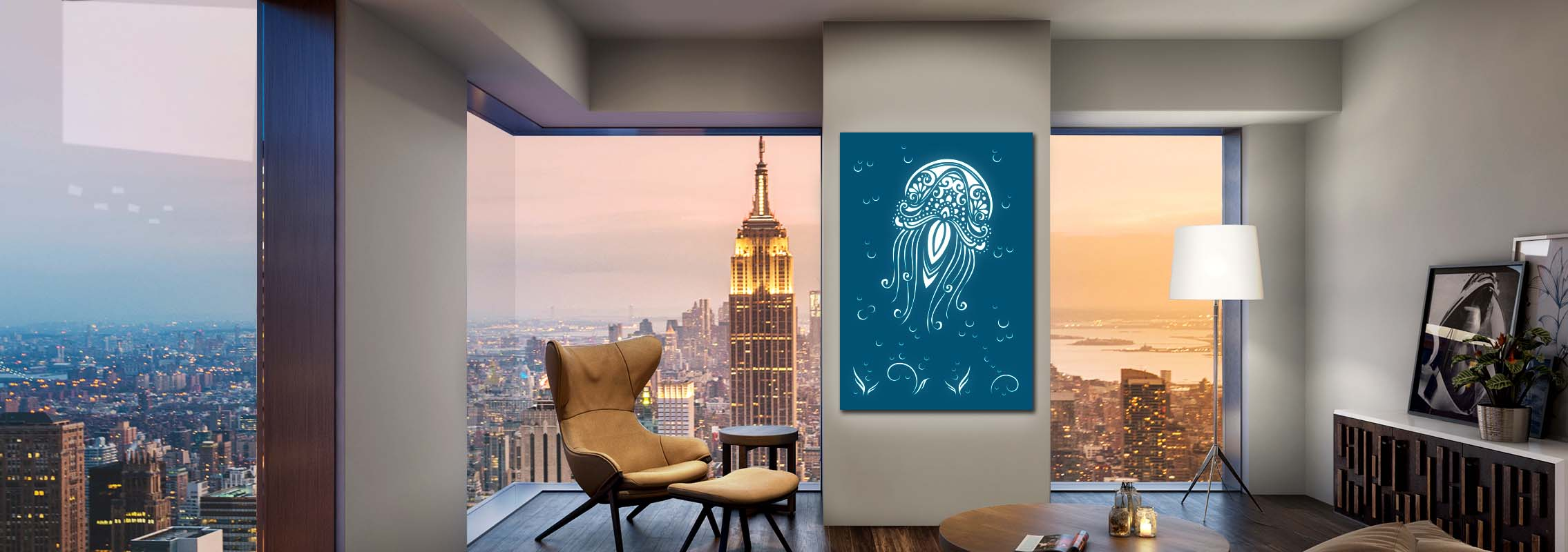 Laser Cut Screen Jellyfish Perfectly Fit in a Modern Apartment